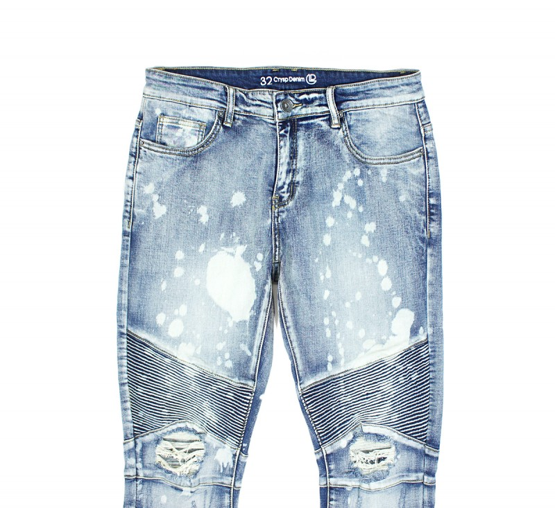 Джинсы Скныз Skywalker Biker Blue Bleach